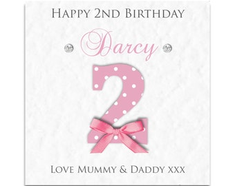 Personalised Girls 2nd 3rd 4th 5th Birthday Card - Daughter, Granddaughter, Niece!