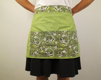 Half Apron/Server Apron in Green Swirls and Dots