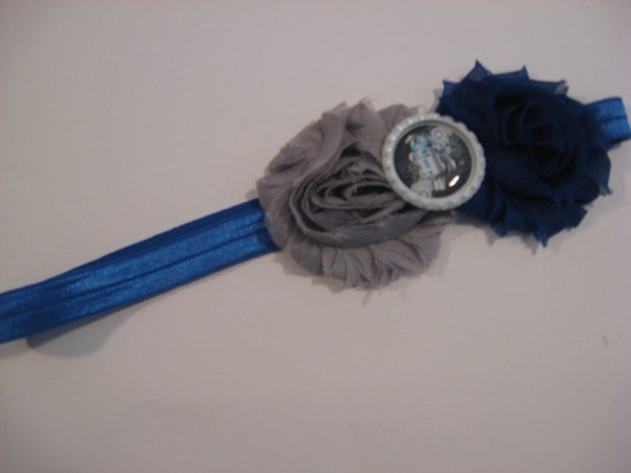 Star Wars R2D2 Shabby Chic Headband Blue and Grey by