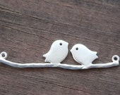 8 Silver Plated Birds on Branch Connectors 4.4cm 1.7 inches