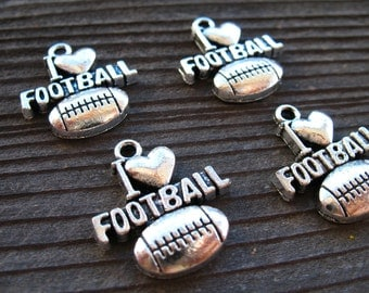 8 Silver Football Charms 20mm I Love Football Antiqued Silver