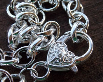 5 Silver Bracelet Chains with Heart Clasp 8 inches Silver Plated Bracelet Blanks 9mm by 7mm links