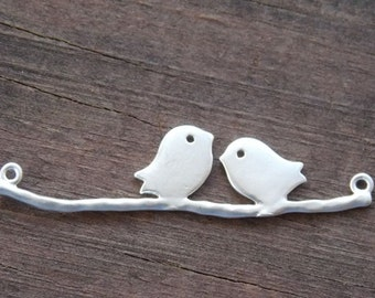 4 Silver Plated Birds on Branch Connectors 4.4cm 1.7 inches