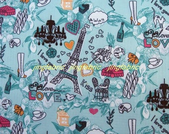 "W251C  - Vinyl Waterproof Fabric - Tower flower - Blue green  - 27""x19""(70cmX50cm)"