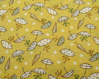 C013D - 1 meter Cotton fabric -  Umbrella on Yellow