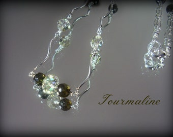 Tourmaline Necklace with Swarovski Crystals and Sterling Spiral Links - Genuine Tourmaline - October Birthstone