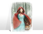 "Postcard ""CAPPUCCETTO ROSSO"" (Red Riding Hood)"