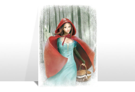 """Postcard """"CAPPUCCETTO ROSSO"""" (Red Riding Hood)"""