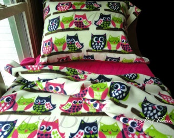 Owl Bedding Set Girls Toddler Fleece Bedding Set 'Owls with Pink' Handmade Fits Crib and Toddler Beds
