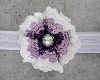 Vintage Couture Crochet Purple Ombre Ruffle Doily Flower Headband Newborn Jewel