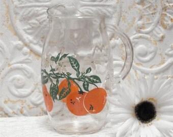 Vintage Small Juice Pitcher Oranges 8 Inch