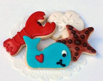 Little Nautical Beach Sugar Cookies - Mini Bites - 2 1/2 Dozen Mini Cookies