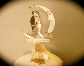 Custom Listing for MarilyWedding Cake Topper -- Customized -- Art Deco --Bride and Groom  -- Anniversary -- Vintage Inspired -- Gold Glitter
