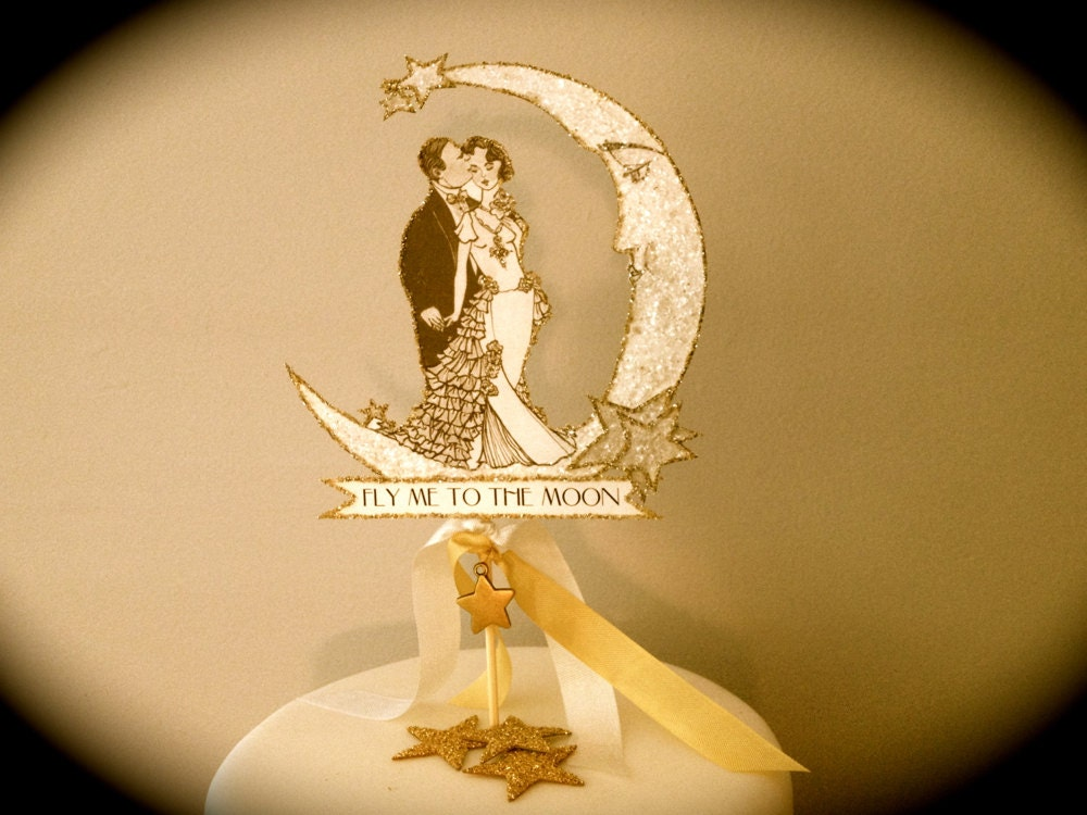 Wedding Cake Topper Art Deco Bride and Groom Winter Moon