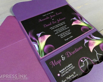 Calla Lily Wedding Invitation Sample | Flat or Pocket Fold Style