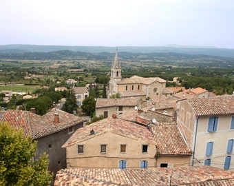 Provence photo, Provence canvas, Provence print, France print, provence town, France photo, oversized art, blue shutters, landscape photo