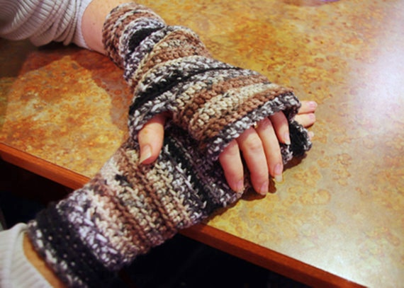 Crocheted  Wristers - Fingerless Gloves - Mittens - Soft Yarn -  Adult sizes