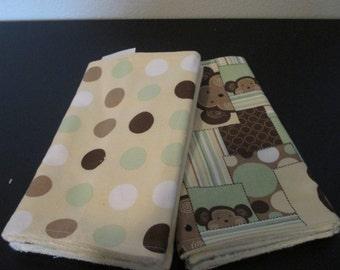 Baby Burp cloths Set of Four - Monkey Patch