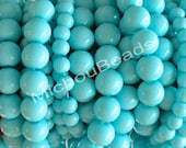 10 AQUA 8mm Round PEARL Glass Beads - Opaque Crystal Glass Beads by the Strand - USA Wholesale Beads - Instant Ship - 066 / b50