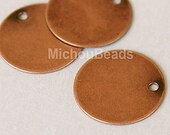 10 Antiqued COPPER 15mm Drops - Flat Round Blank STAMPING Disc Charm - Stamping Findings Pendant Coin - Instant Ship - USA Wholesale - 5566