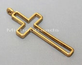 25 ANTIQUED Gold 37mm Outline CROSS Charm Pendant - 37x16x2mm Nickel Free Metal Long Cross Boho Charm - USA Discount Charm Beads - 5850