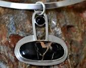 """RESERVED for Pamela Sterling silver onyx and jasper pendant.  """"night lightning"""""""