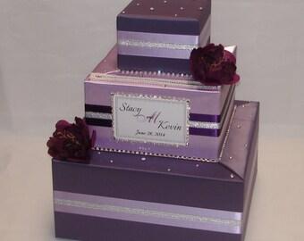 Victorian Lilac/Lavender Wedding Card Box- rhinestones/flowers-any colors