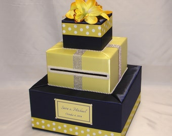 Elegant Wedding card Box-Navy Blue and Yellow-Orchids-Polka Dots ribbon