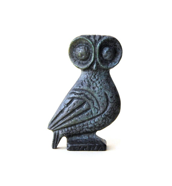 Owl Bronze Verdigris Greek Sculpture - Big Eyes