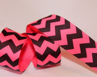 Neon Chevron Ribbon 7/8 inch, 10 or 20 yards Pink and Black