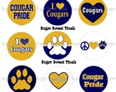 INSTANT DOWNLOAD Cougars 2 Navy  Blue Gold School Mascot 1 inch Circle Bottlecap Images 4x6 sheet