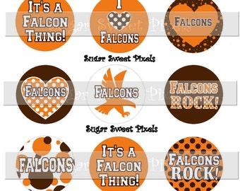 INSTANT DOWNLOAD Falcons School Mascot Brown Orange  1 inch circle Bottlecap Images