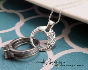 AloraLocks THE ORIGINAL Round Lattice Filigree Circle  Wedding / Engagement Ring or Charm Holder Pendant / Sterling Silver