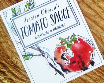 Homemade Tomato Sauce Labels or Gift Tag, Set of 18