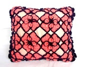 Flower Pillow, Crocheted pillow  with  ribbon closure  Flower,