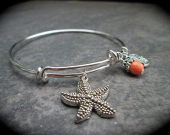 Starfish Adjustable Bangle Bracelet with Fish and Coral charms Beach Theme Bracelet