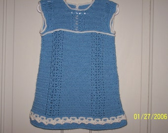 Child's Blue Crocheted Dress with White Trim - size 2