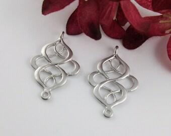 2 Pcs - Matte Rhodium Plated Filigree Chandelier Pendants, Connector, Earrings, Charm, Pendant (28x18MM) JH0R3
