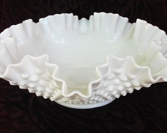 Vintage Milk Glass Large Fenton Hobnail Bowl with Double Ruffle Edge - Wedding Decor - Centerpiece - Home Decor