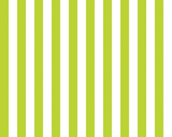 Lime Green and White Small Striped Cotton Fabric by Riley Blake Designs - 1/2 Yard