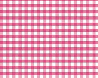 Pink and White Small Gingham Cotton Fabric by Riley Blake Designs - 1/2 Yard