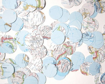 Map Confetti, 1 Ounce Bag, Your Choice of Maps Used, 1 Inch Circles,Vintage Map Wedding,Travel Theme, Map Baby Shower, Welcome to the World