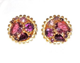 Vintage Purple 1960's Chunky Rhinestone Earrings