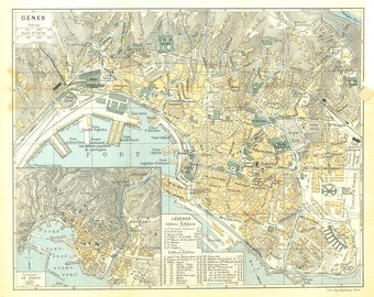 1924 Genoa City Map, Italy, Genova Street Plan