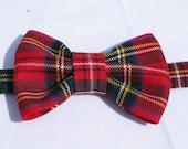 Royal Stewart Tartan Bow Tie, Red Plaid Toddler Tie, Man Scottish Tie, Red Plaid Tartan