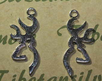 6 pcs per pack - 44x16mm Hunting Deer Antlers Shiny Silver Lead Free Pewter