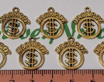 12 pcs per pack 19x17mm Jackpot Charm Antique Gold Finish Lead Free Pewter