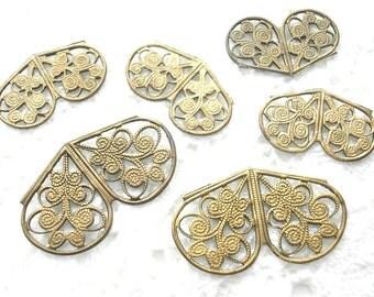 Six Piece Set of Natural Brass Filigrees