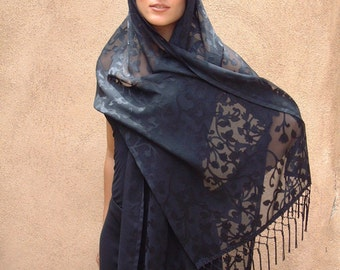Black Spanish Style Shawl with Fringe.