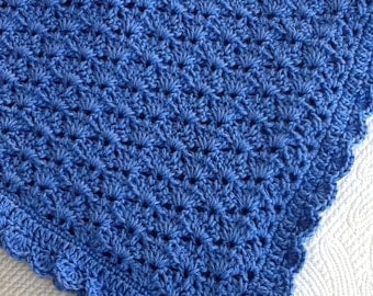 """Soft and Cozy Baby Afghan in """"Blue"""", Blue Crochet Baby Afghan, Crochet Baby Blanket, Valentine Gift for Baby"""